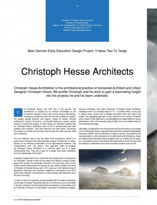 Architecture Award 2018 – Christoph Hesse Architects